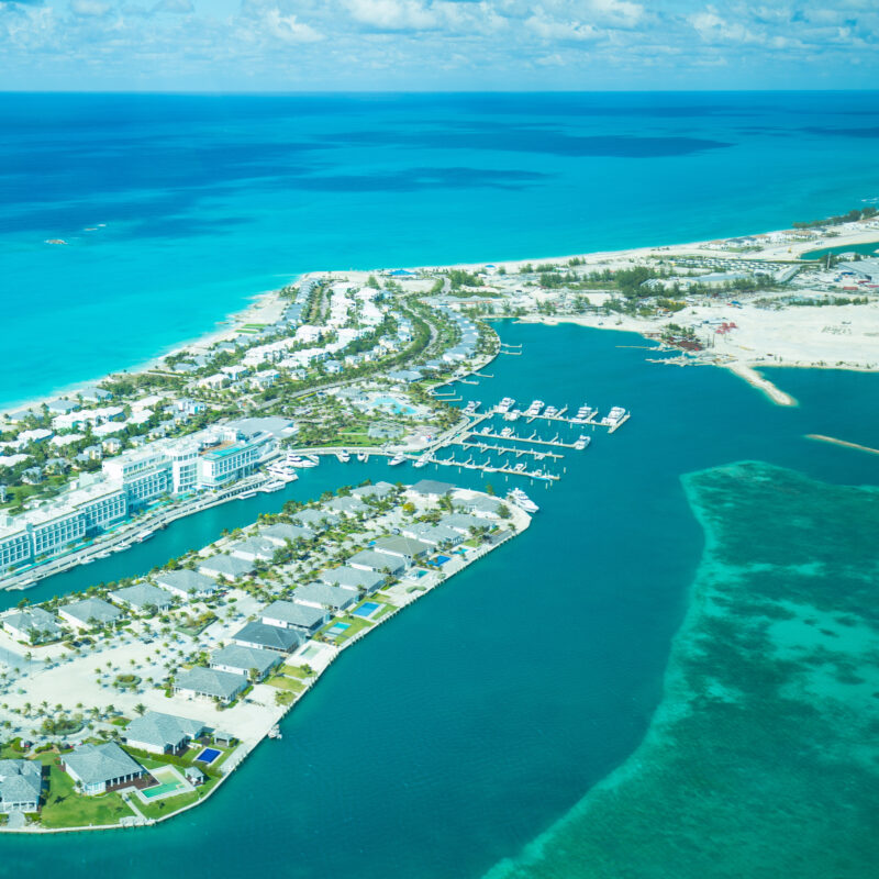 Aerial view of Bimini island in the Bahamas.