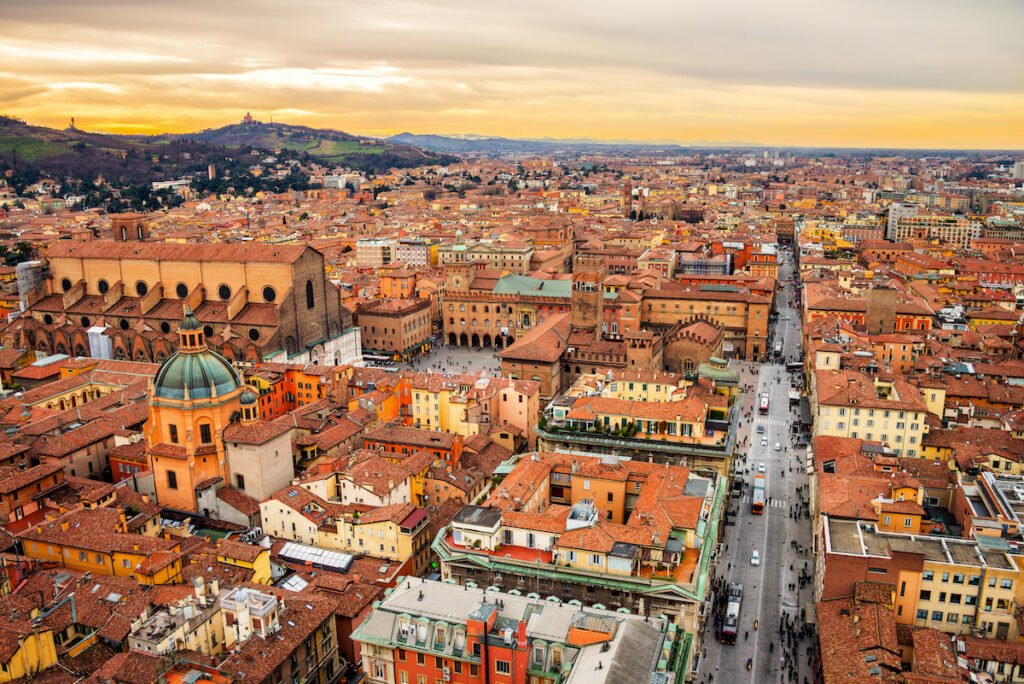Aerial view of Bologna, Italy at sunset.