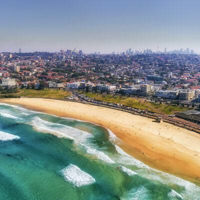 Aerial view of Bondi Beach in Australia.