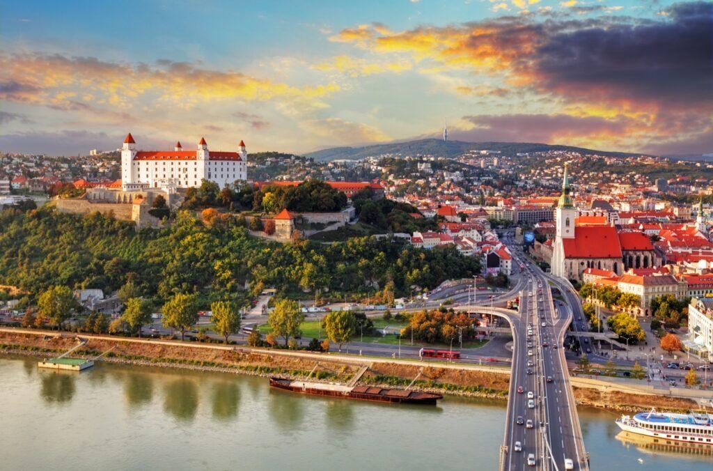 Aerial view of Bratislava, Slovakia.
