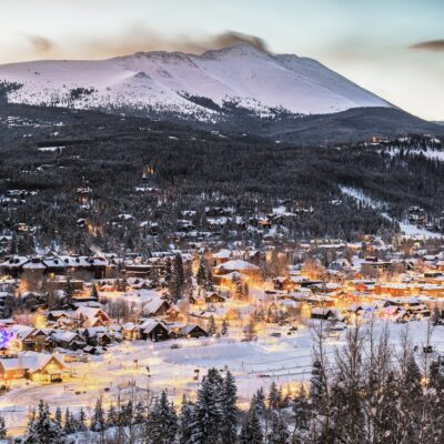 Aerial view of Breckenridge, Colorado, during winter.