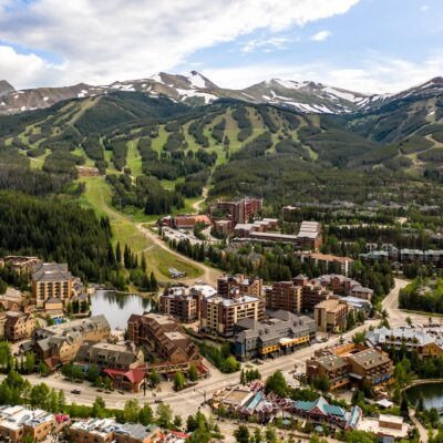 Aerial view of Breckenridge, Colorado, during the summer.