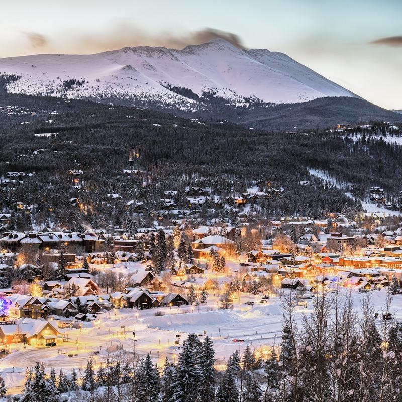 Aerial view of Breckenridge, Colorado, during winter.