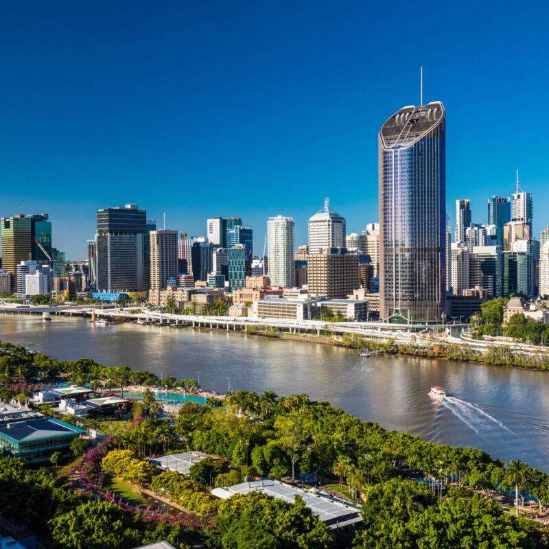 Aerial view of Brisbane, Australia.