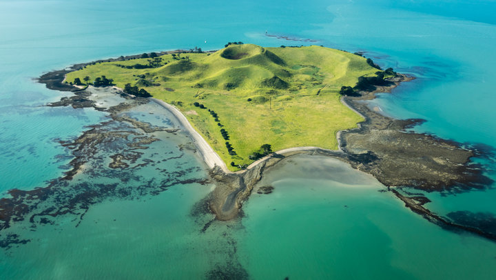 Aerial view of Browns Island in New Zealand.