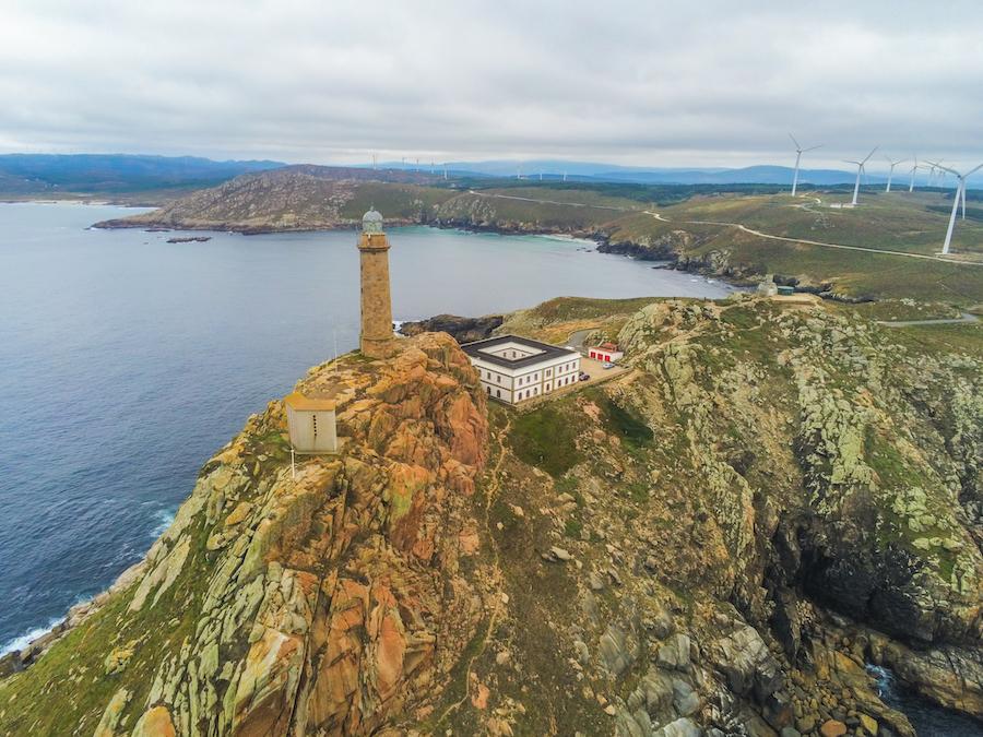 Aerial view of Cabo Vilan in Galicia, Spain.