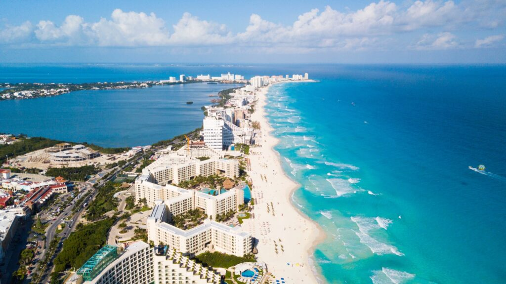 Aerial view of Cancun, Mexico.