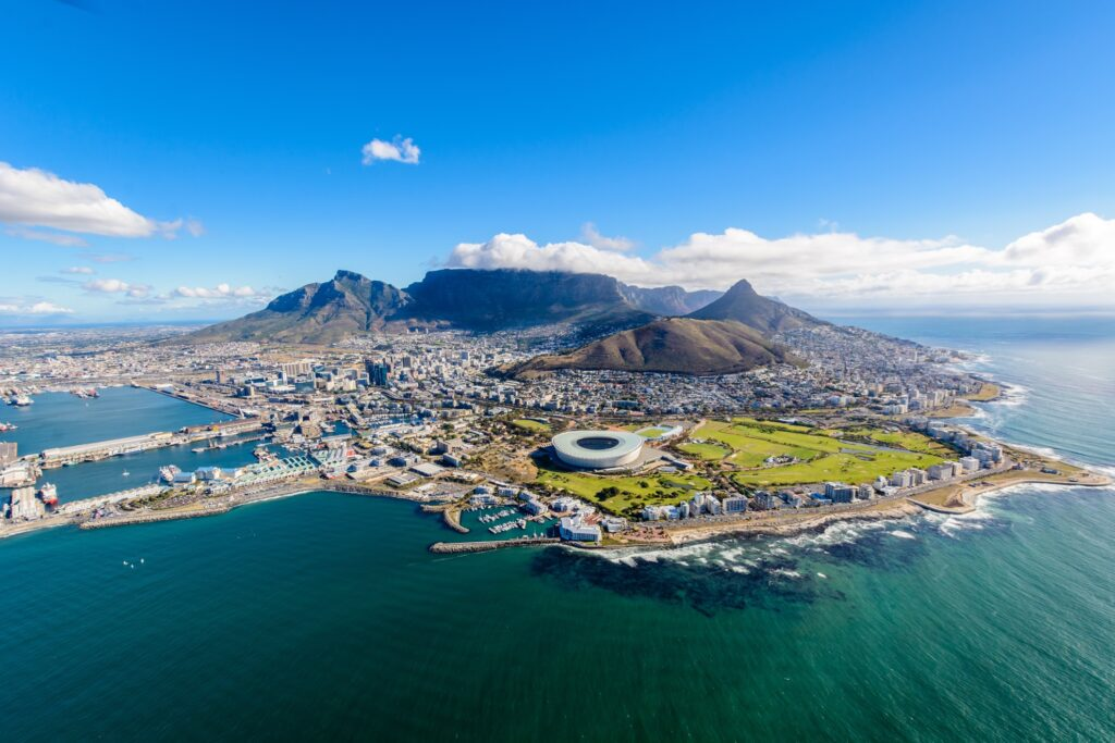 Aerial view of Cape Town.