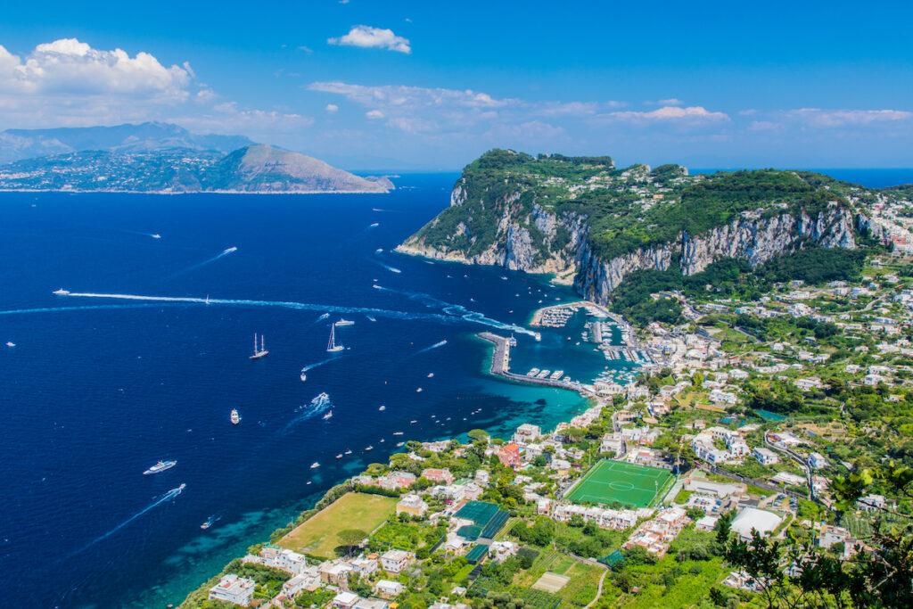 Aerial view of Capri, Italy.