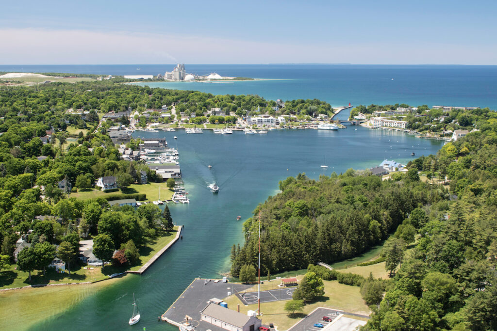 Aerial view of Charlevoix, Michigan.