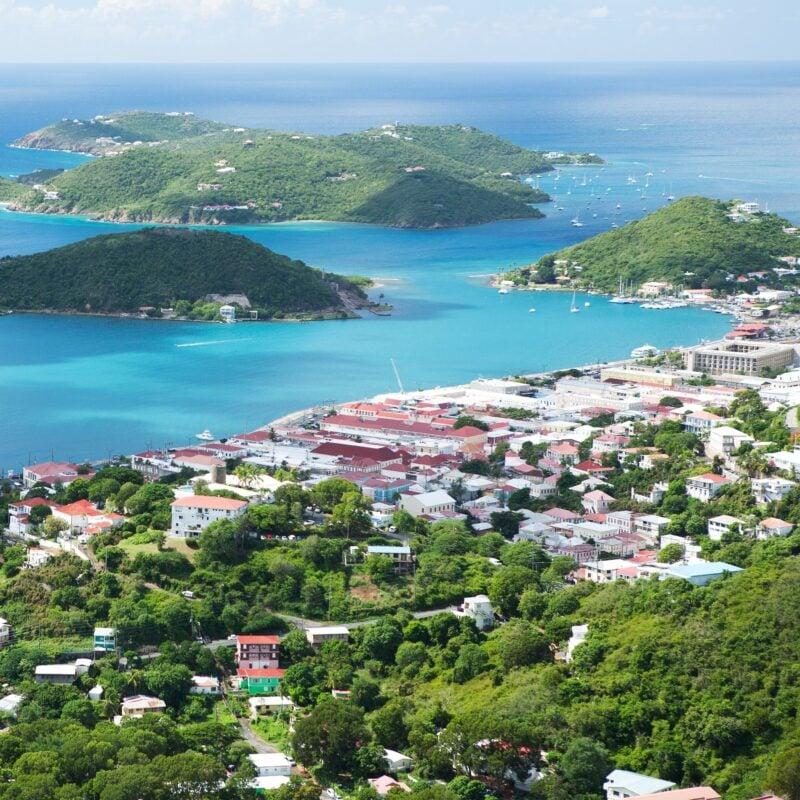 Aerial view of Charlotte Amalie on St. Thomas island.