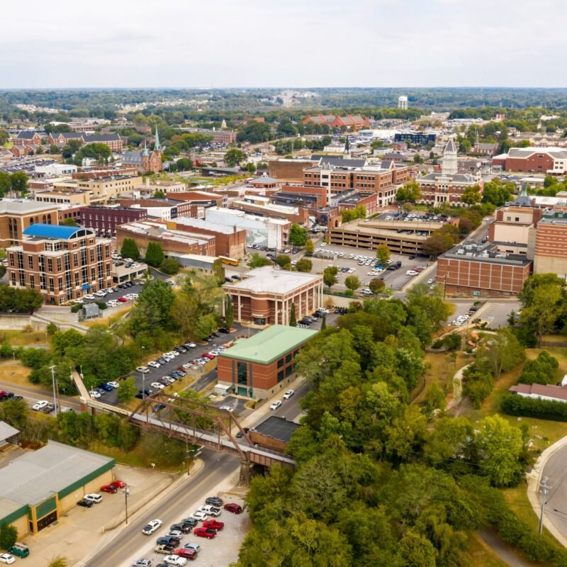 Aerial view of Clarksville, Tennessee.
