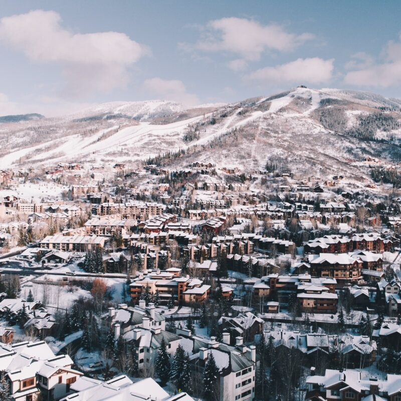 Aerial view of Colorado's Steamboat Springs during winter.