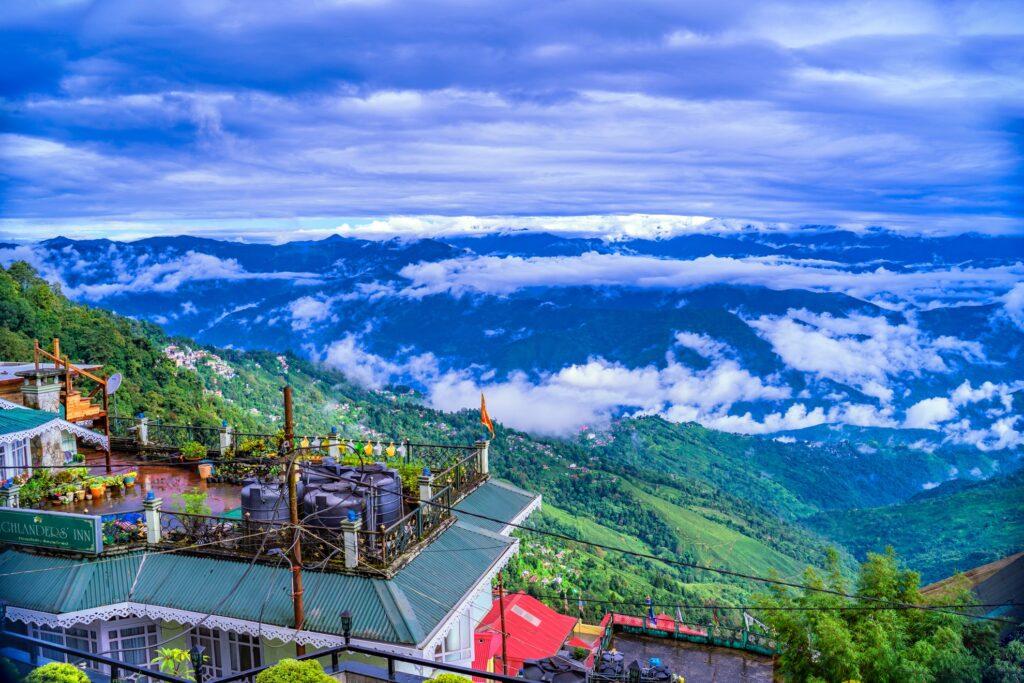 Aerial view of Darjeeling in the Himalayan Foothills.