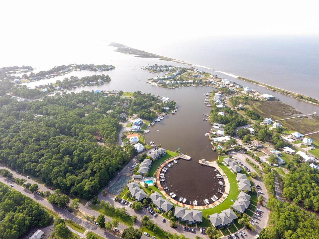 Aerial view of Dauphin Island, Alabama.
