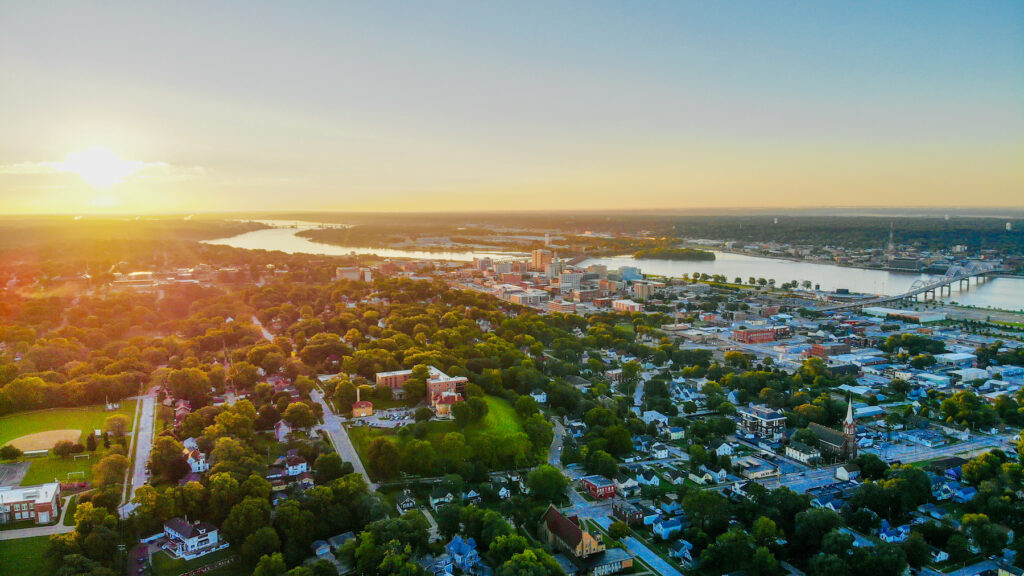 Aerial view of Davenport, Iowa.
