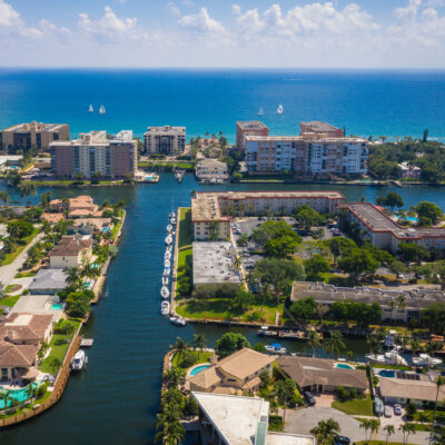 Aerial view of Deerfield Beach, Florida.