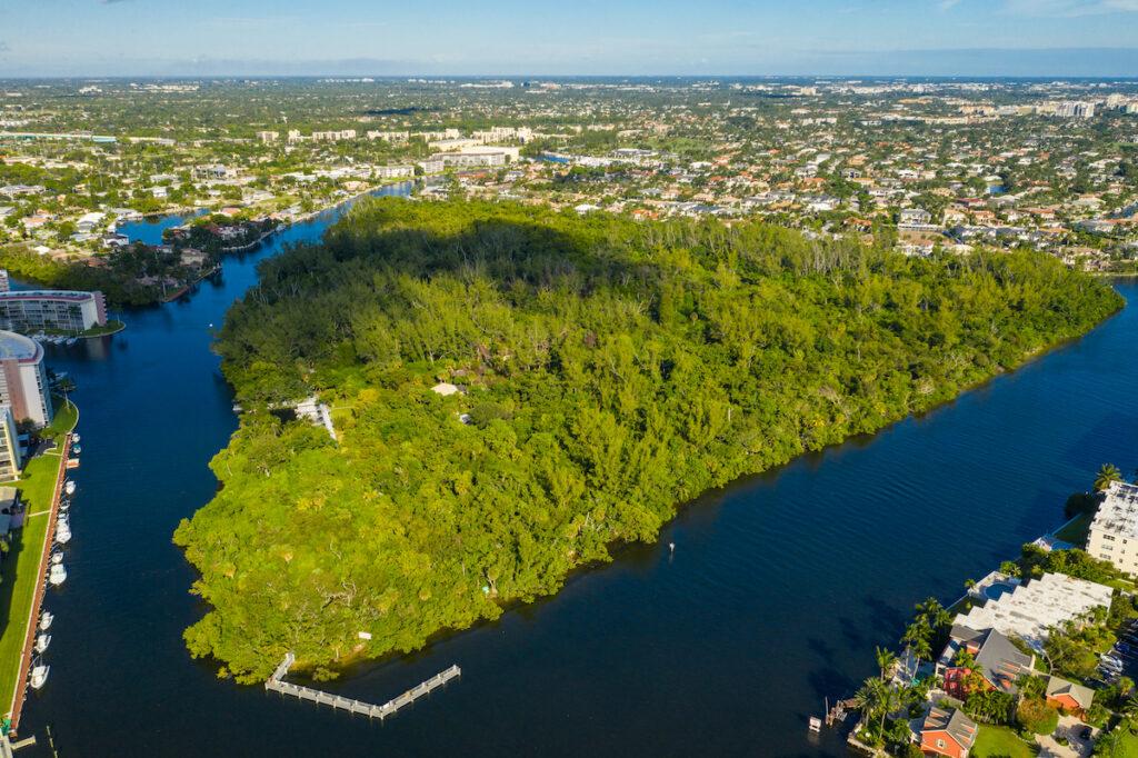 Aerial view of Deerfield Island Park in Forida.