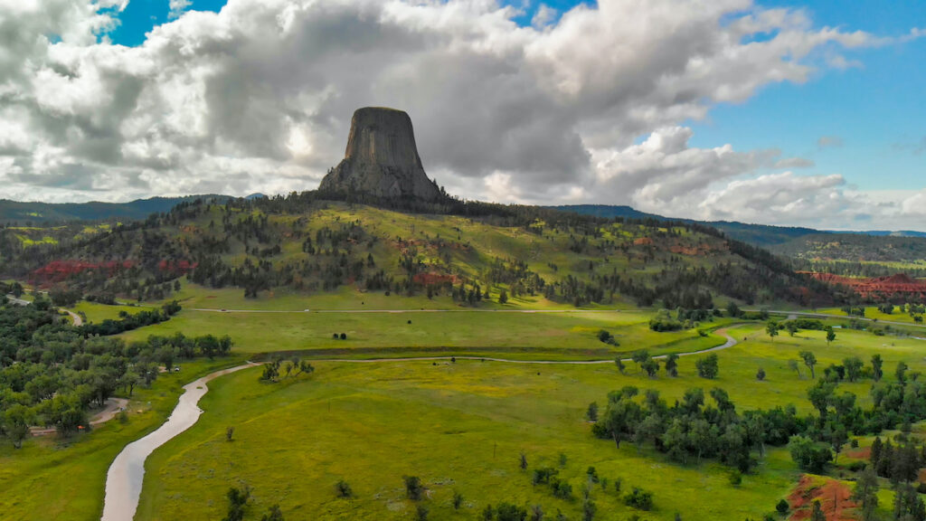 Aerial view of Devils Tower National Monument in Wyoming.