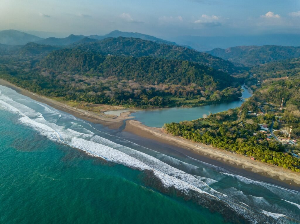 Aerial view of Dominical, Costa Rica.