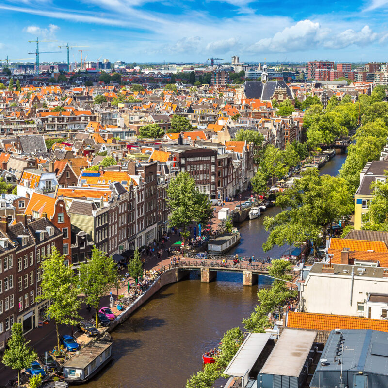 Aerial view of downtown Amsterdam.