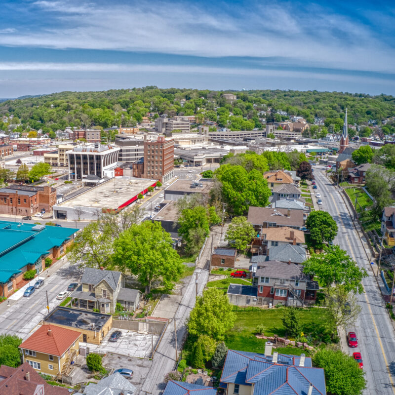 Aerial view of downtown Council Bluffs, Iowa.