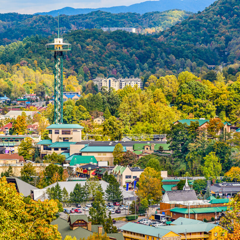 Aerial view of downtown Gatlinburg, Tennessee.