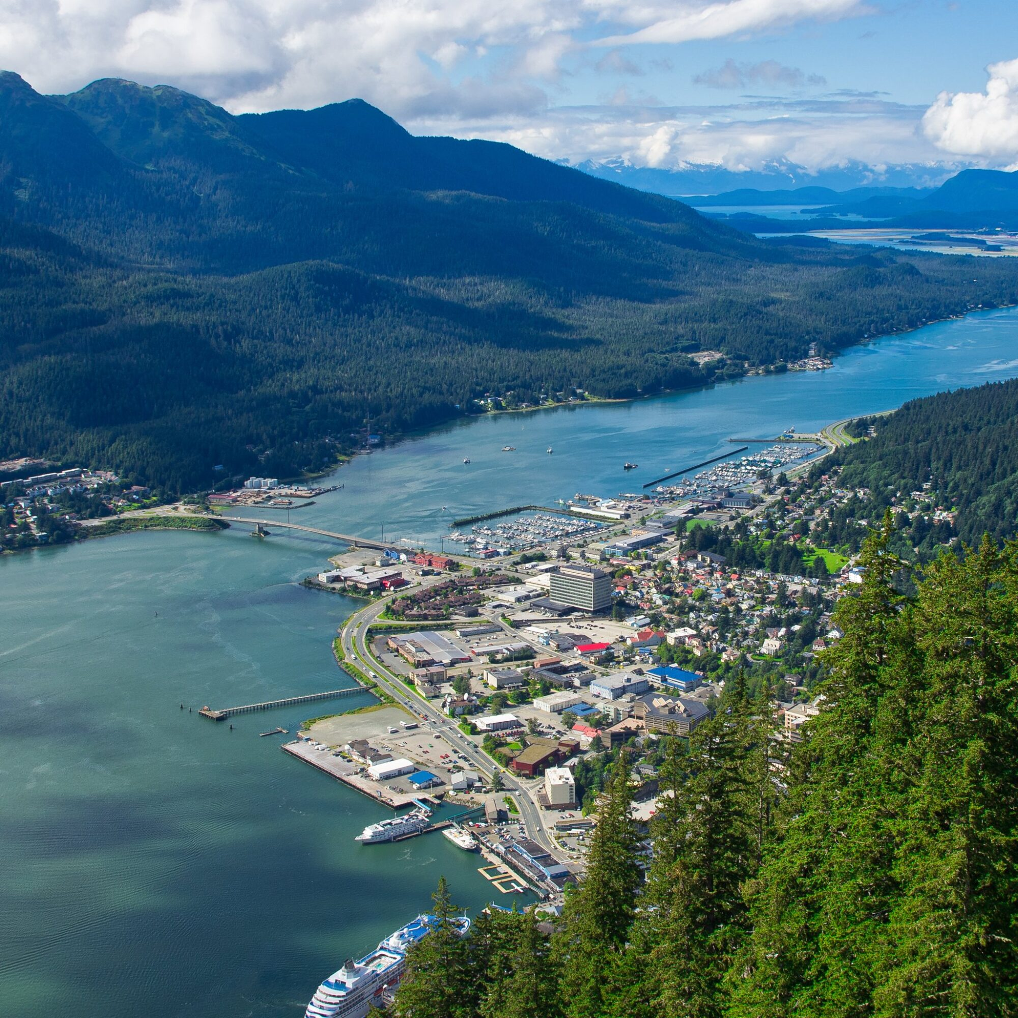 Aerial view of downtown Juneau, Alaska.