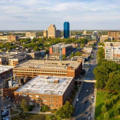 Aerial view of downtown Lexington, Kentucky.