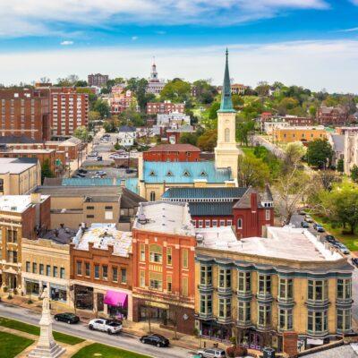 Aerial view of downtown Macon, Georgia.