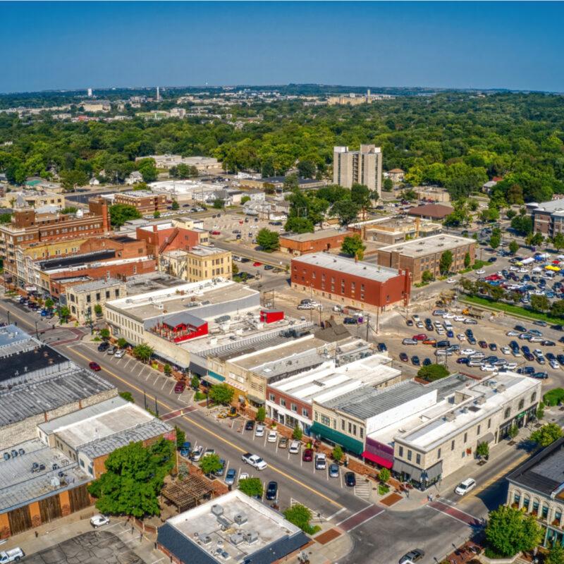 Aerial view of downtown Manhattan, Kansas.