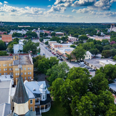 Aerial view of downtown New Braunfels, Texas.