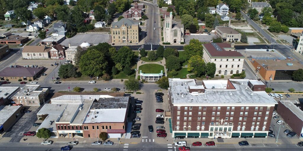 Aerial view of downtown Ottumwa.