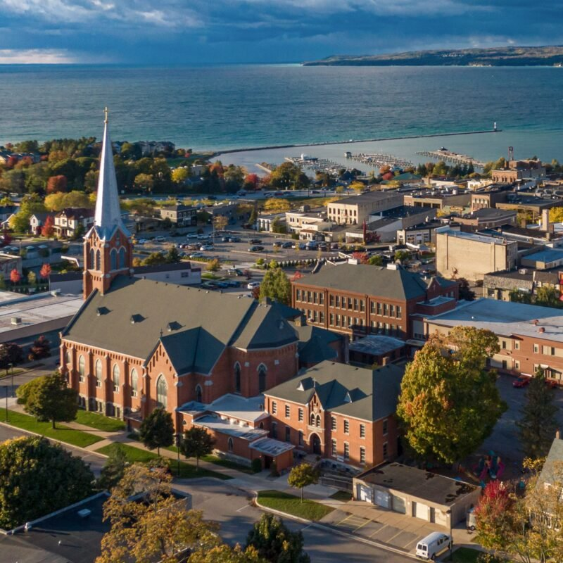 Aerial view of downtown Petoskey, Michigan.