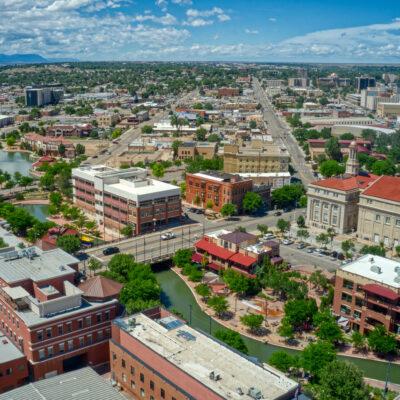Aerial view of downtown Pueblo, Colorado.
