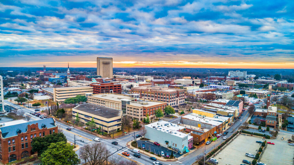 Aerial view of downtown Spartanburg, South Carolina.