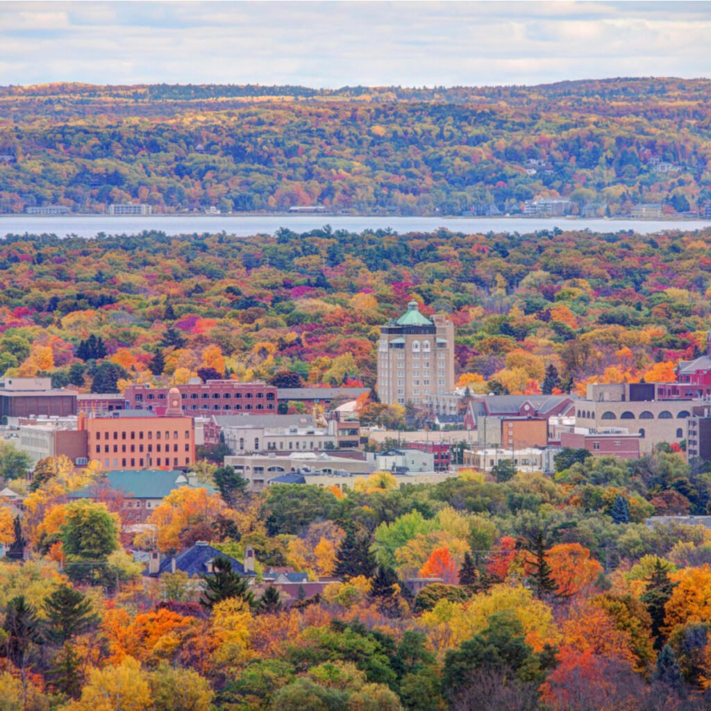 Aerial view of Downtown Traverse City Michigan.