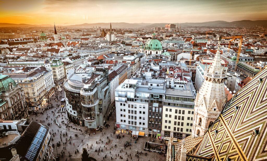 Aerial view of downtown Vienna, Austria.