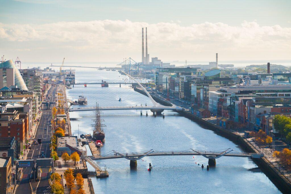 Aerial view of Dublin, Ireland.