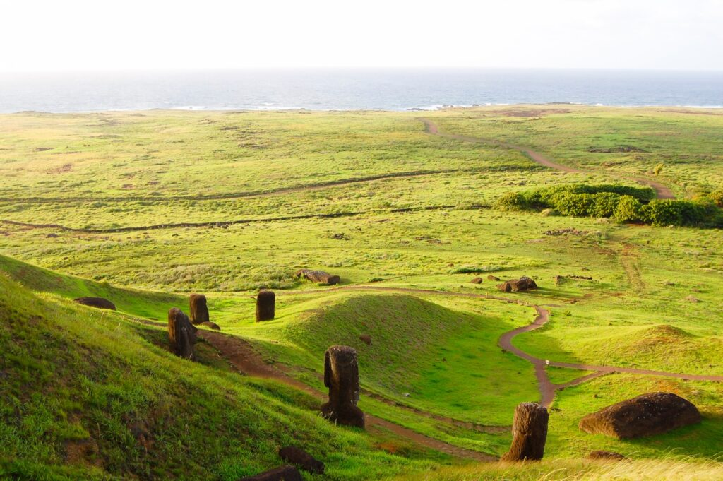 Aerial view of Easter Island.