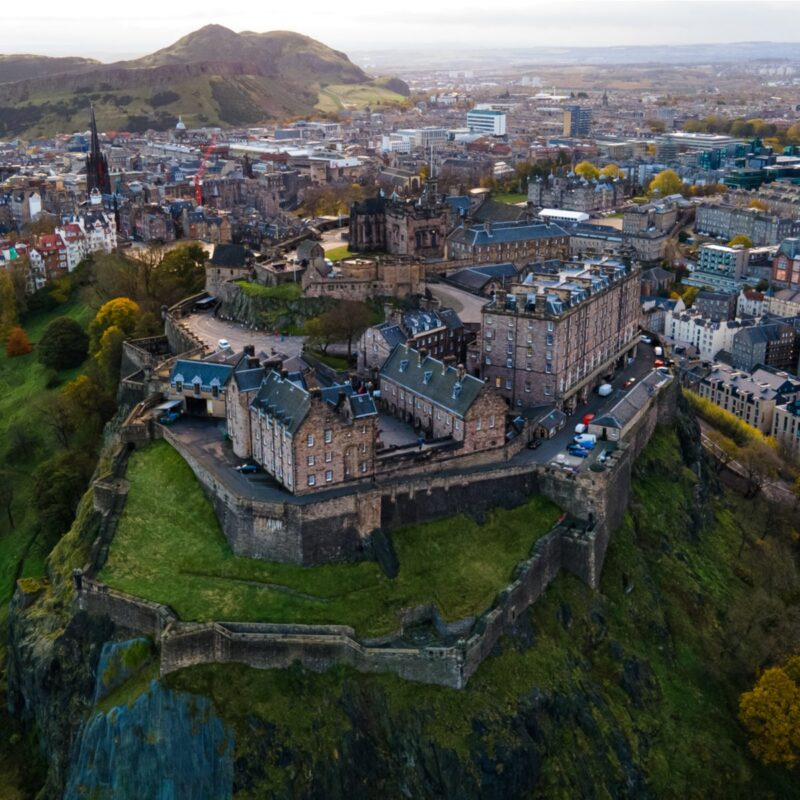 Aerial view of Edinburgh, Scotland.