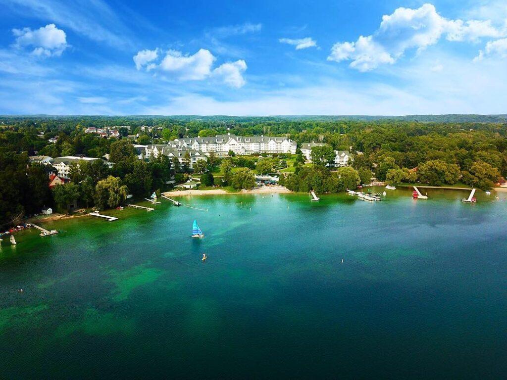 Aerial view of Elkhart Lake, Wisconsin.