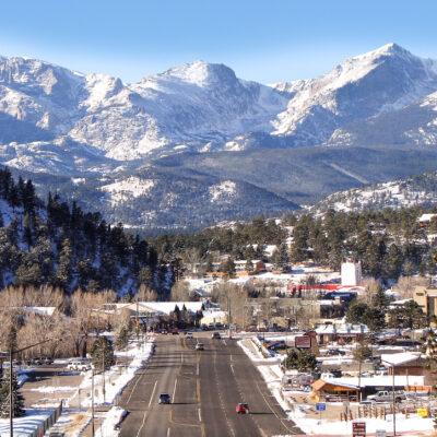 Aerial view of Estes Park, Colorado, during winter.