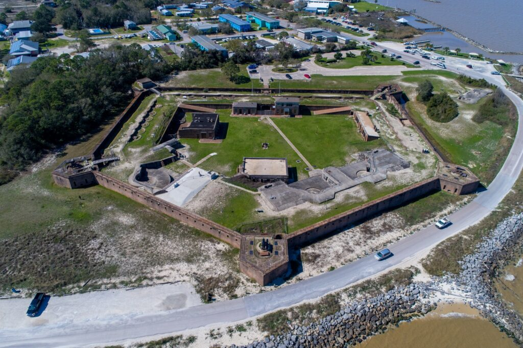 Aerial view of Fort Gaines.