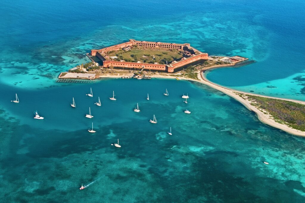 Aerial view of Fort Jefferson in Dry Tortugas National Park.