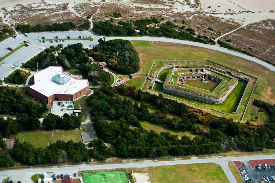 Aerial view of Fort Macon State Park in North Carolina.