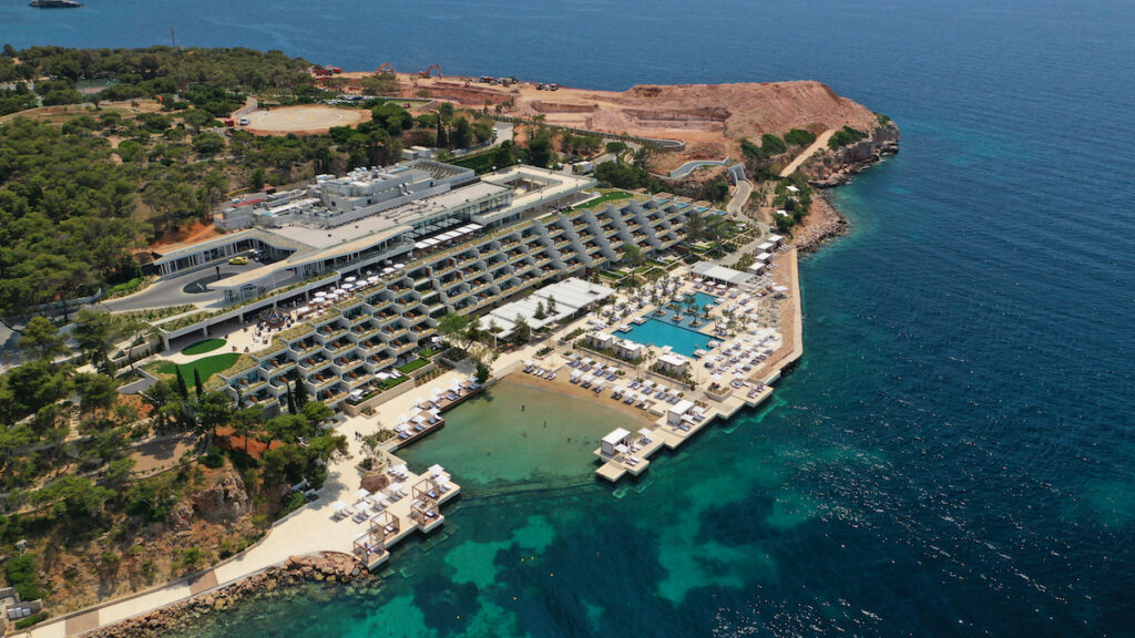 Aerial view of Four Seasons Astir Palace in Athens, Greece.