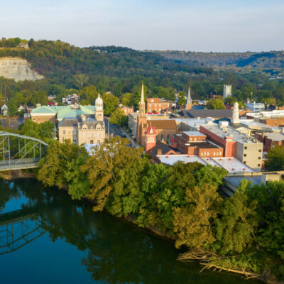 Aerial view of Frankfort, Kentucky.