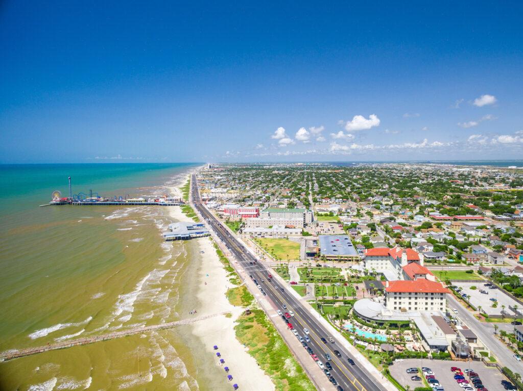 Aerial view of Galveston Island in Texas.