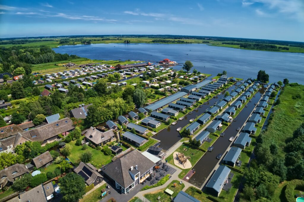 Aerial view of Giethoorn.